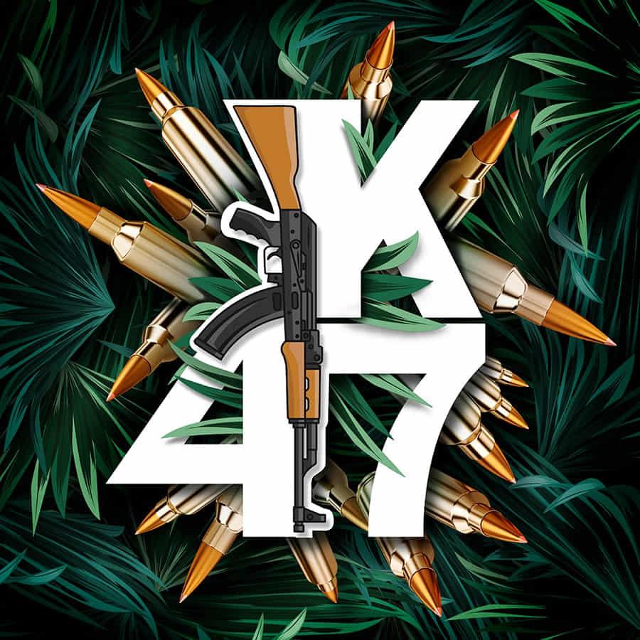 Un dibujo con las letras k47 y una metralleta AK 47 en referencia al fertilizante Agrobeta AK 47